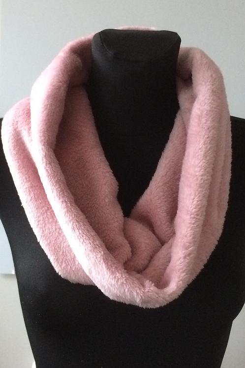 handmade cuddle polar fleece rose pink scarf, cowl, infinity snood, neck warmer