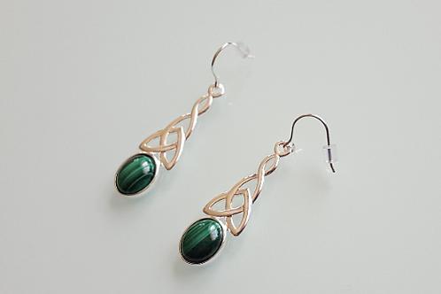 925 Sterling Silver & Malachite long celtic drop Earrings