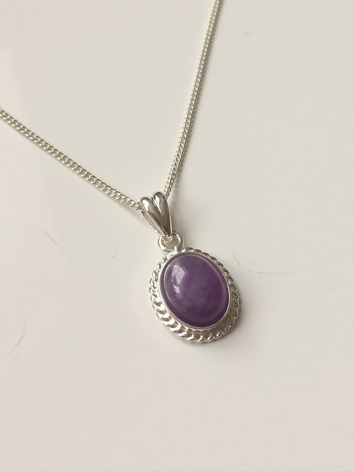 925 Sterling Silver Rope Edge 14 x 11mm Amethyst Pendant Necklace