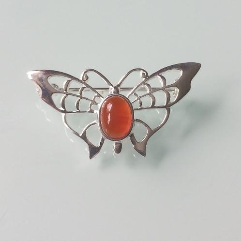 925 Sterling Silver Butterfly and Carnelian Butterfly Brooch