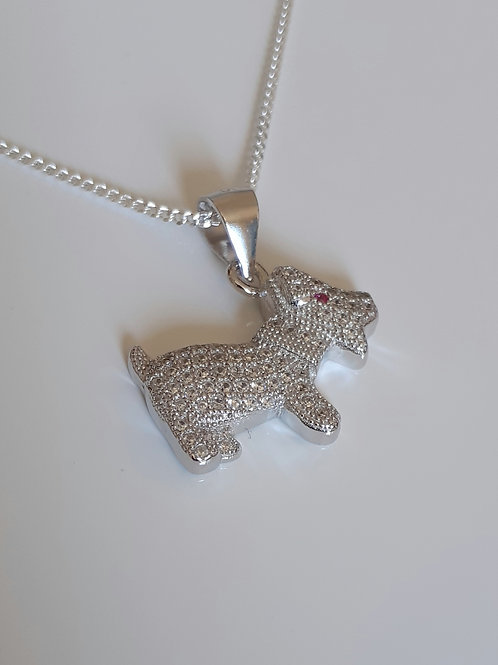 925 Sterling Silver and Cubic Zirconia Dog Necklace