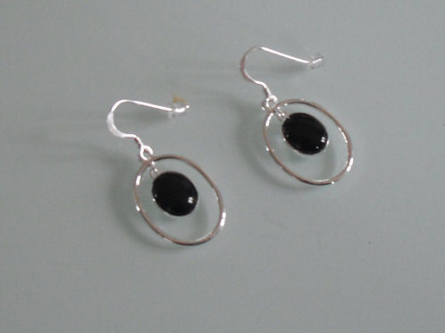 925 sterling silver and Black Onyx oval drop earrings