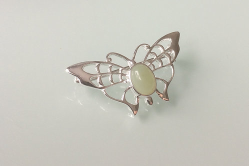925 Sterling Silver Butterfly and New Jade Butterfly Brooch
