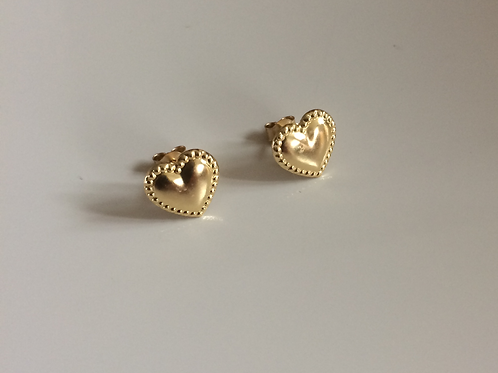 9ct Gold beaded heart stud earrings