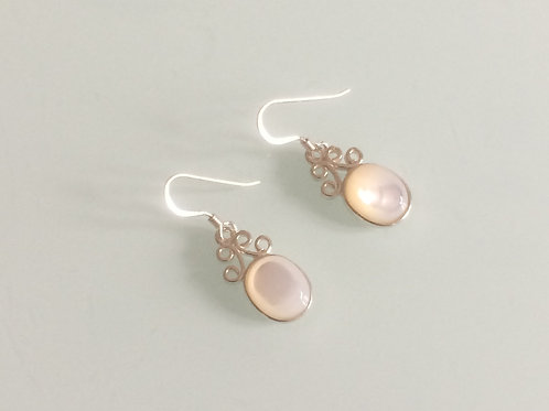925 Sterling Silver & Mother of Pearl Small Scroll Drop Earrings