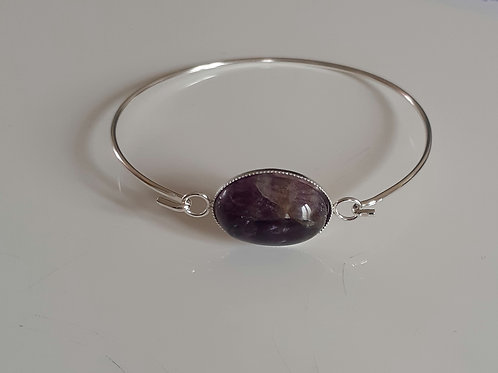 925 Sterling Silver bangle with a milled edge Link with an 18x13mm Fluorite