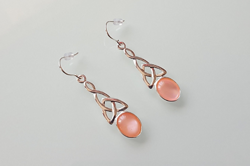 925 Sterling Silver & Pink Mother of Pearl long celtic drop Earrings