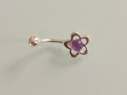 925 Sterling Silver & Surgical Steel Flower Belly Bar with an Amethyst