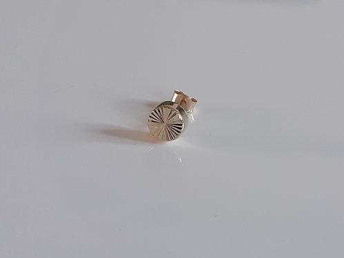 9ct Gold Mens 'Single' Diamond Cut 5mm Stud Earring