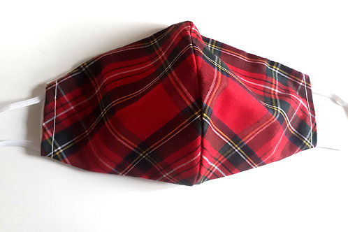handmade facemask washable re-useable cotton 2 layer tartan face covering