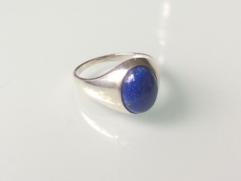 925 Sterling Silver and Lapis Lazuli Unisex Signet Ring Sizes K - R