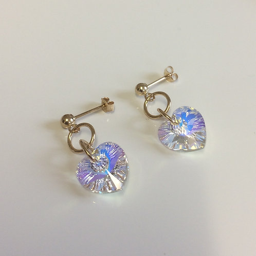 9ct Gold Swarovski Crystal AB Heart Drop Stud Earrings
