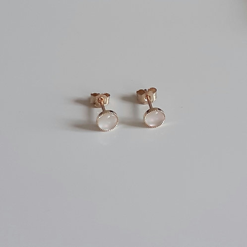 9ct Gold and Mother of Pearl 5mm Milled Edge Stud Earrings