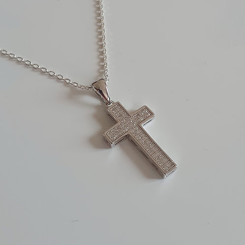 925 Sterling Silver pave set cubic zirconia cross Necklace