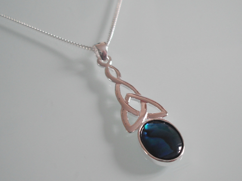 925 Sterling Silver Long Celtic & Blue Abalone Necklace