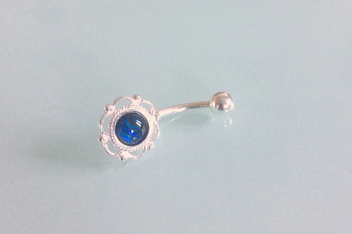 Sterling Silver & Surgical Steel Frill Edge Belly Bar set with Blue Abalone