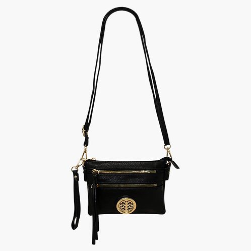 black faux leather zipped Crossbody - Shoulder bag
