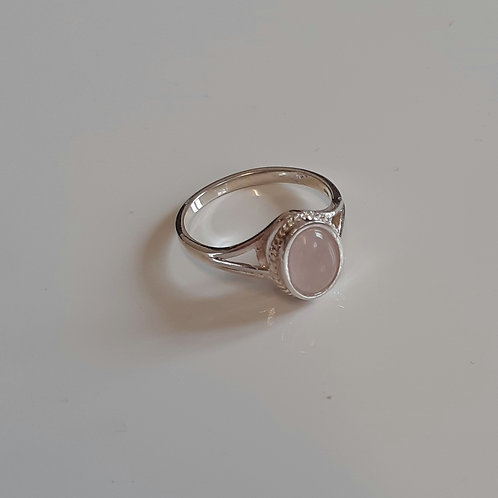 925 Sterling Silver and Rose Quartz Rope Edge Ring Sizes J - R