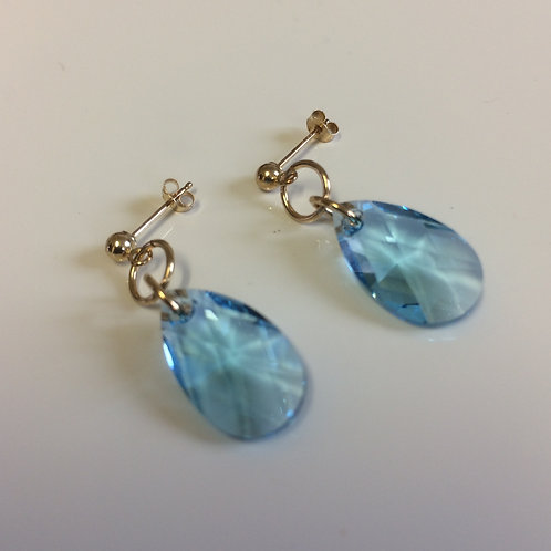 9ct Gold Swarovski Crystal Aquamarine Pear Drop Stud Earrings