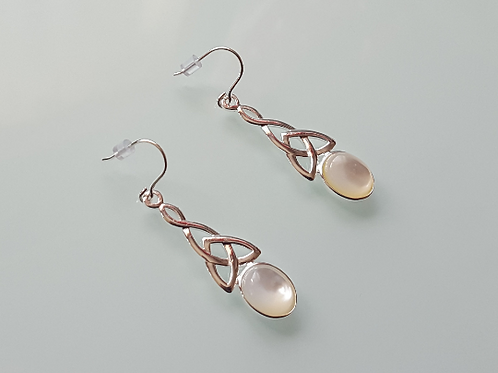 925 Sterling Silver & Mother of Pearl long celtic drop Earrings