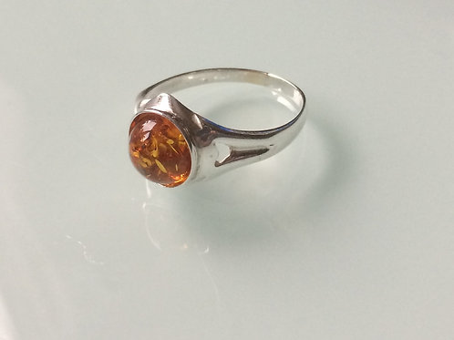 925 sterling silver ring set with an 8mm Amber onyx cabochon stone sizes