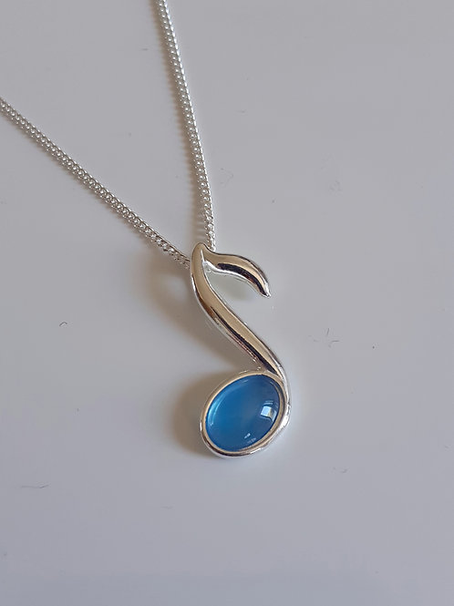 925 Sterling Silver and Blue Agate Small Music Note Necklace