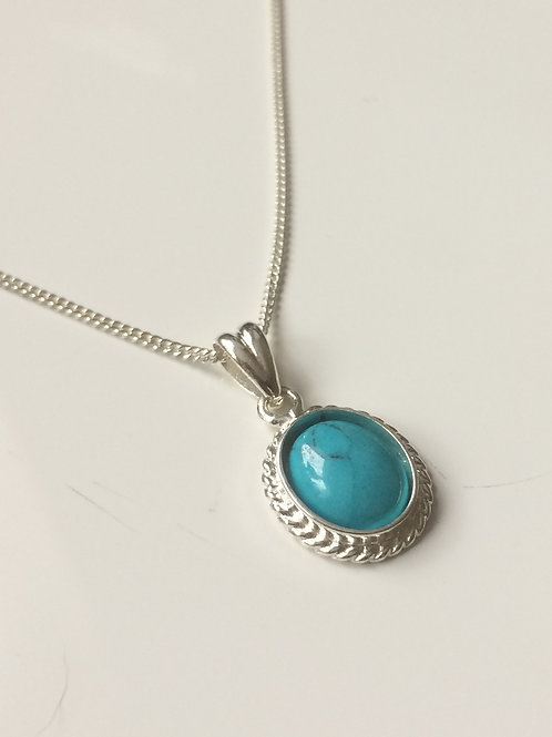 925 Sterling Silver Rope Edge 14 x 11mm Turquoise Pendant Nec