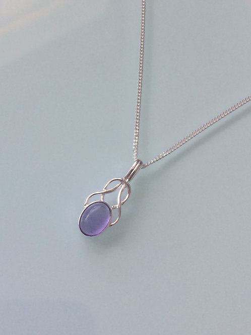 925 Sterling Silver Small Fancy Amethyst Celtic Necklace