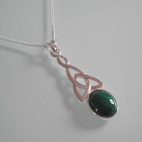 925 Sterling Silver Long Celtic & Malachite Necklace