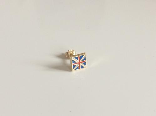 9ct Gold Mens 'Single' union Jack 5mm Square Stud Earring