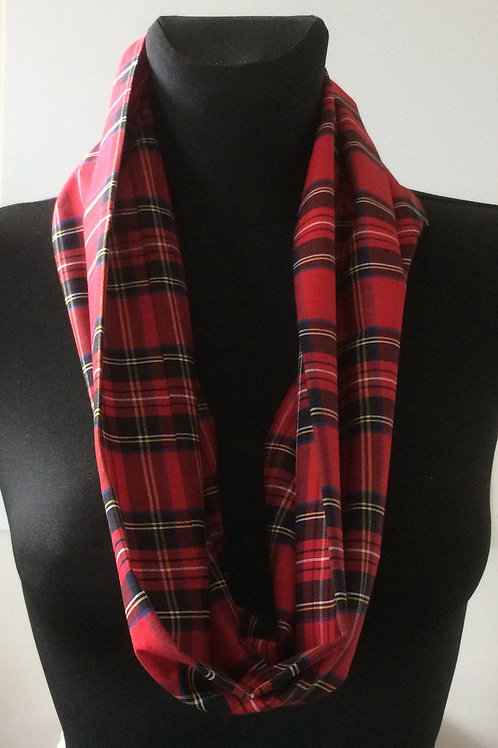 handmade cowl, snood, neck warmer, scarf, cotton red tartan print