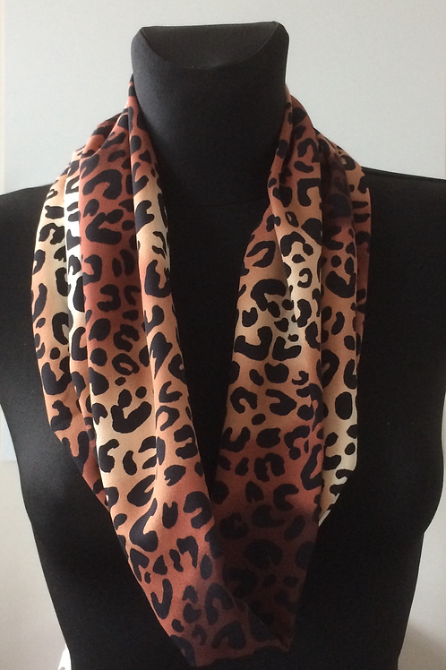 handmade cowl, snood, neck warmer, scarf, polyester leopard print warm brown