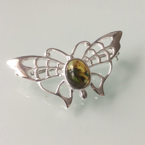 925 Sterling Silver Butterfly and Green Amber Butterfly Brooch