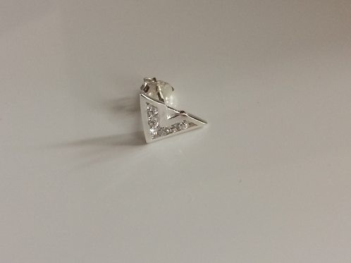 Men's 'SINGLE' 925 Sterling Silver and cubic zirconia V stud earring
