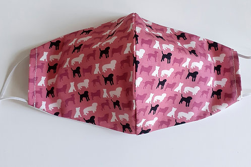 handmade facemask washable re-useable cotton 2 layer Pink Dog Print