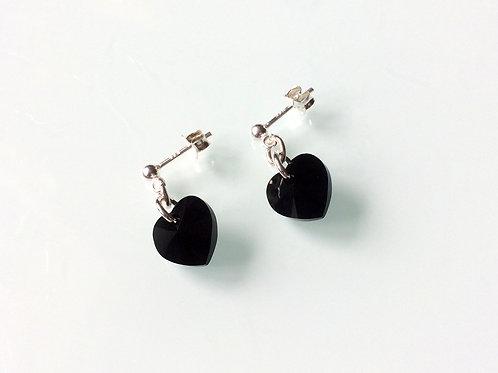 925 Sterling Silver & 10mm Swarovski Crystal Jet Black Heart Stud Earrings