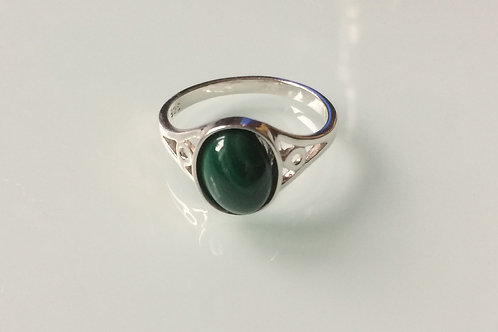 925 Sterling Silver and Malachite Ladies Ring sizes J - R