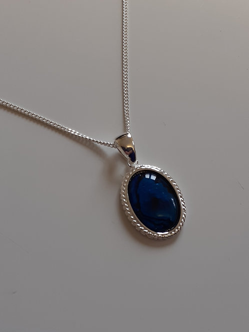 925 Sterling Silver Double Rope Edge 18 x 14mm Blue Abalone Necklace