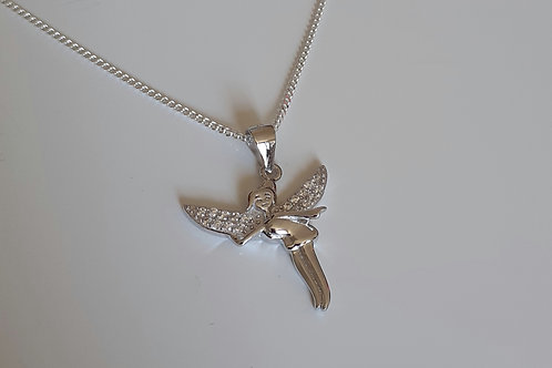 925 Sterling Silver and cubic zirconia Fairy Necklace
