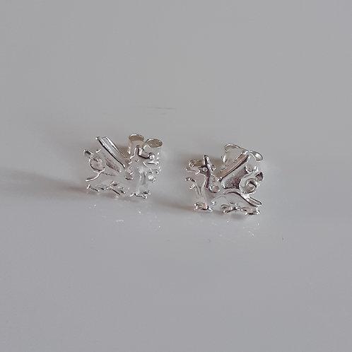 925 Sterling Silver Welsh Dragon Stud Earrings