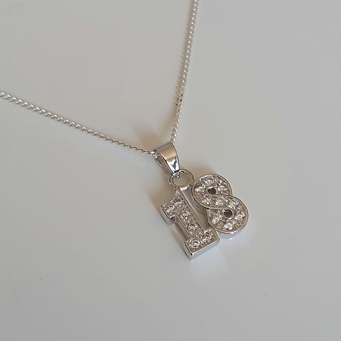 925 Sterling Silver and cubic zirconia 18th Necklace