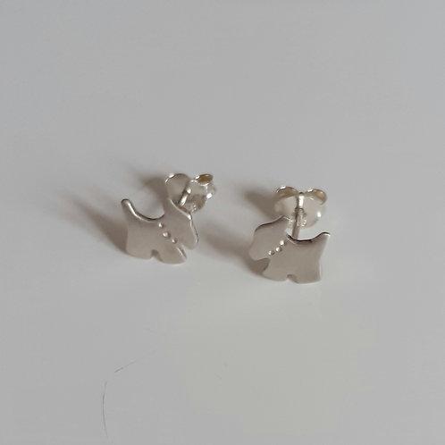 925 Sterling Silver Satin Scottie Dog Stud Earrings