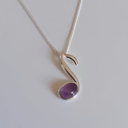 925 Sterling Silver and Amethyst Small Music Note Necklace