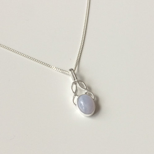 925 Sterling Silver Small Fancy Blue Lace Agate Celtic Necklace
