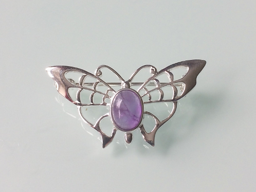 925 Sterling Silver Butterfly and Amethyst Butterfly Brooch