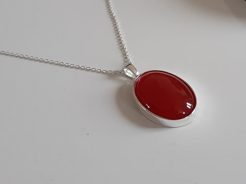 925 Sterling Silver Plain 25 x 18mm Carnelian Necklace