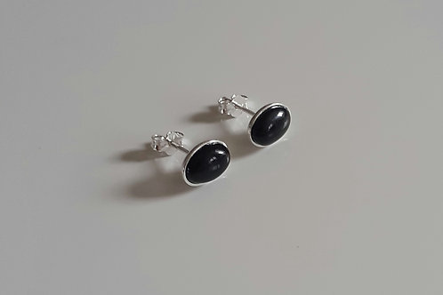 925 Sterling Silver & Black Onyx Plain Edge Stud Earrings 9 x