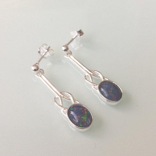 925 Sterling Silver & Opal Triplet small celtic drop Earrings