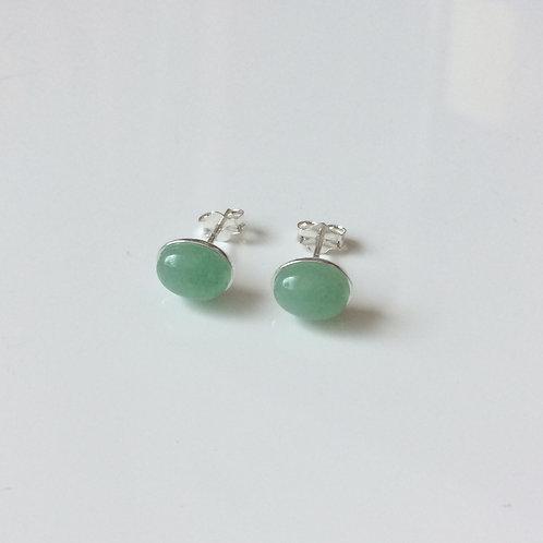 925 Sterling Silver & Aventurine Plain Edge Stud Earrings 9 x