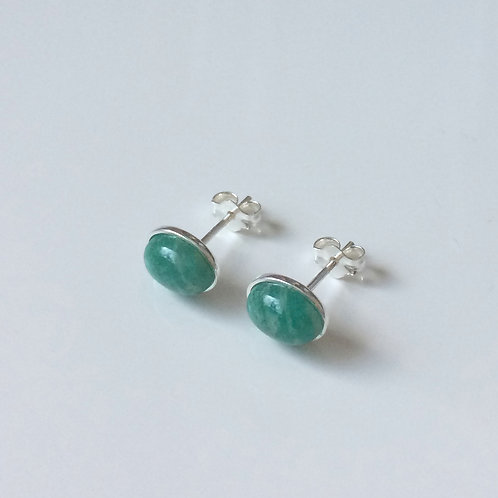 925 Sterling Silver & Russian Amazonite Plain Edge Stud Earrings 9 x